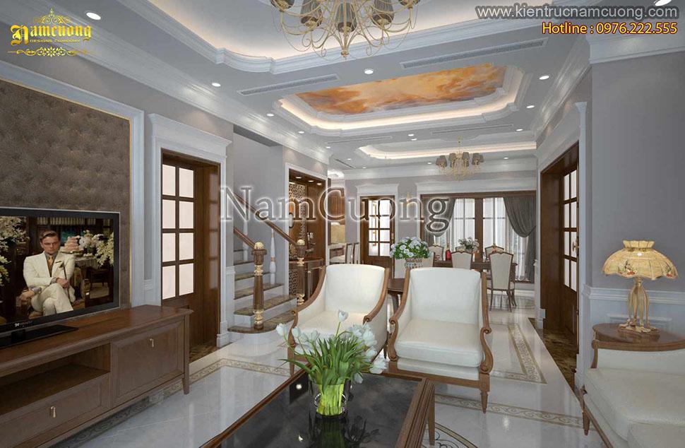 Mẫu thiết kế phòng khách liền bếp tân cổ điển ấn tượng