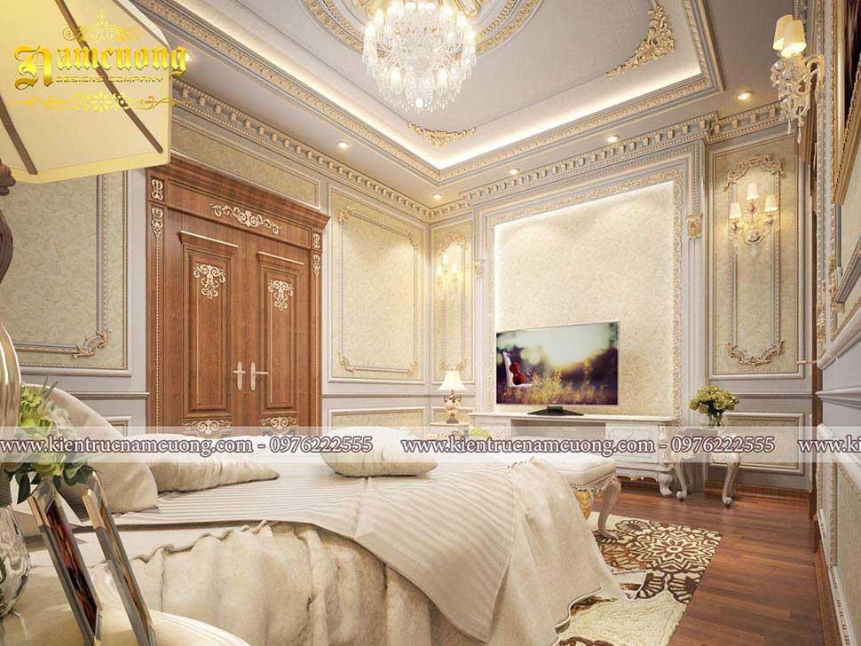 Thiết kế phòng ngủ cổ điển 25m2 cho biệt thự