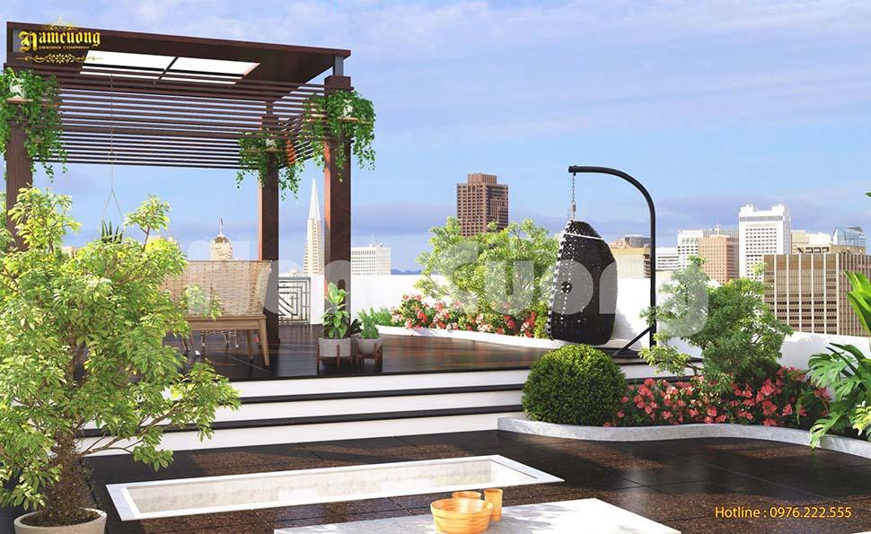 Mẫu thiết kế  tiểu cảnh sân vườn trên mái nhà biệt thự cực xinh