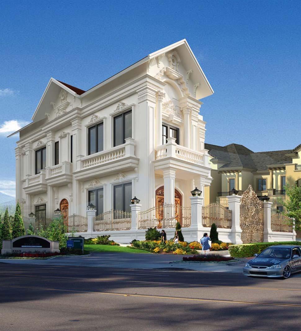 thiết kế biệt thự mái thái 2 tầng