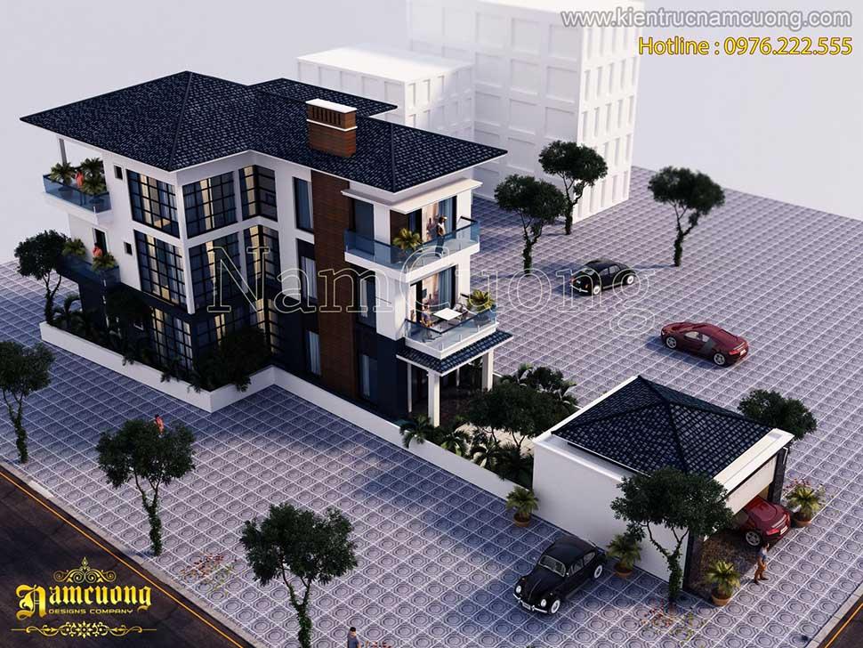 Thiết kế biệt thự 3 tầng hiện đại mái Thái đẹp