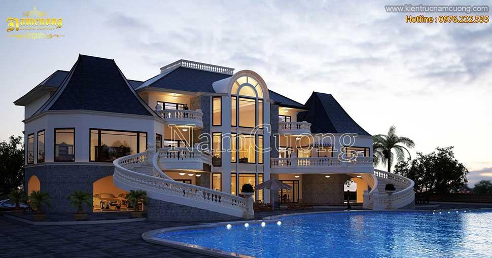 Mẫu thiết kế biệt thự châu Âu 3 tầng có bể bơi