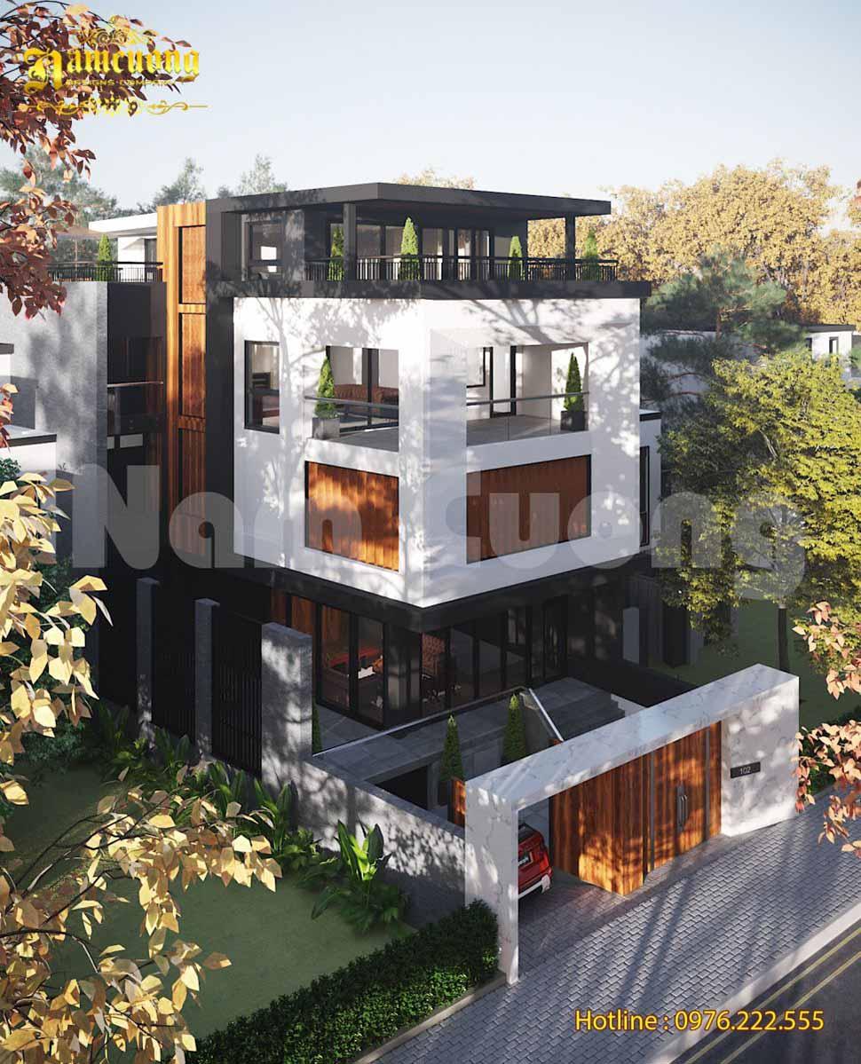 Mẫu thiết kế biệt thự hiện đại 4 tầng độc đáo