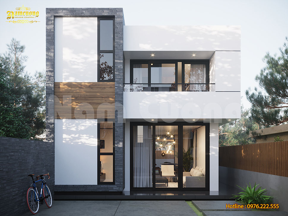 Thiết kế biệt thự hiện đại 2 tầng có bể bơi