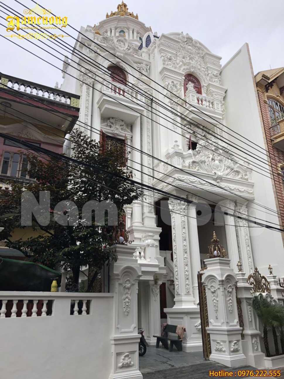 Hình ảnh thực tế thi công hoàn thiện biệt thự lâu đài tại Bắc Ninh
