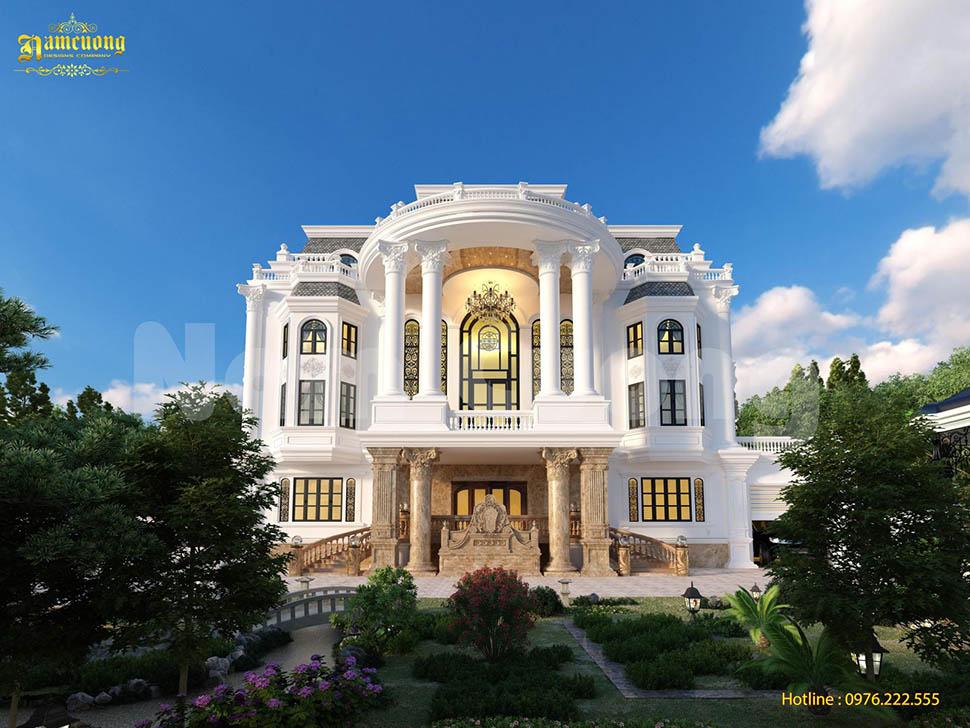 Thiết kế kiến trúc biệt thự lâu đài 3 tầng đẳng cấp