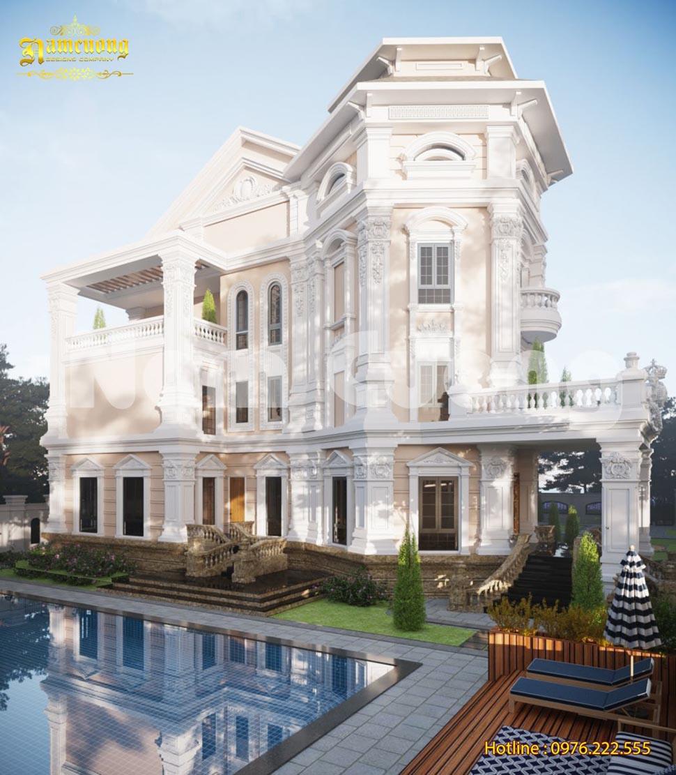 Thiết kế biệt thự lâu đài kết hợp bể bơi