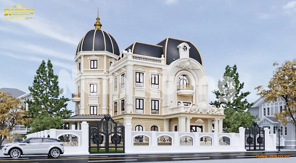 Thiết kế biệt thự lâu đài cổ điển 4 tầng mái Marsand