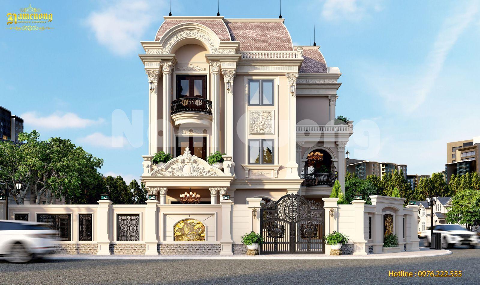 Thiết kế biệt thự Pháp 3 tầng 1 tum ấn tượng
