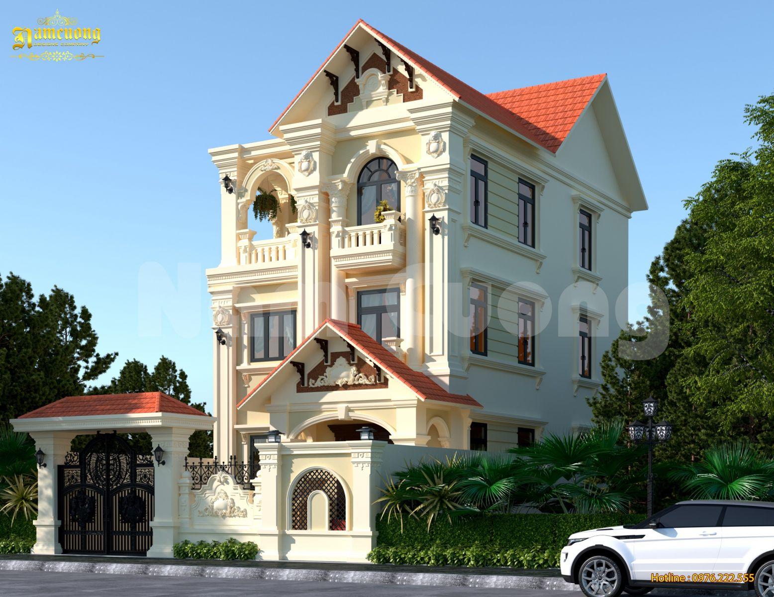 Thiết kế biệt thự 3 tầng kiến trúc Pháp tại Quảng Ninh