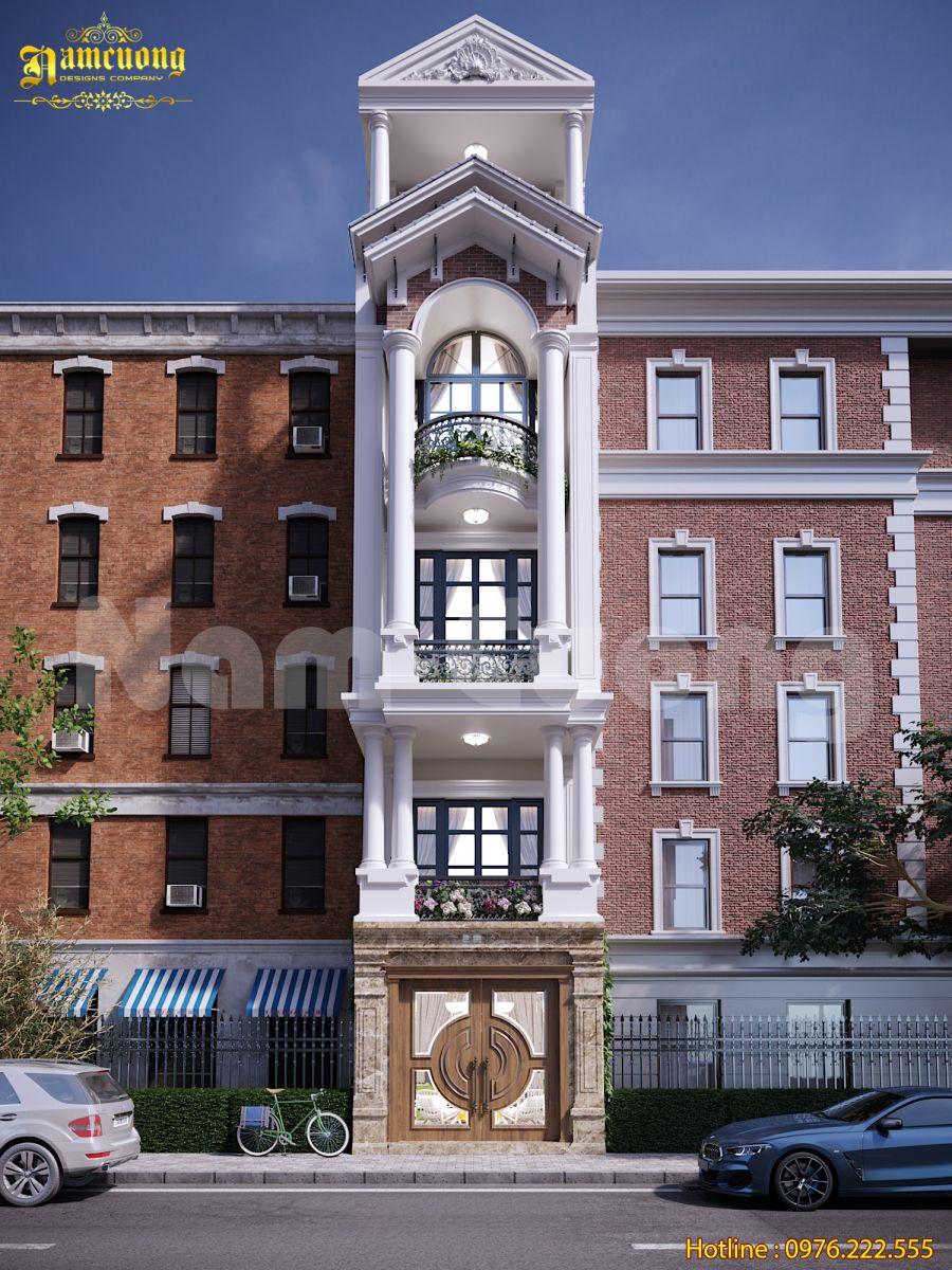 Thiết kế nhà ống kiểu Pháp 5 tầng nổi bật trên đường lớn tại Hải Phòng