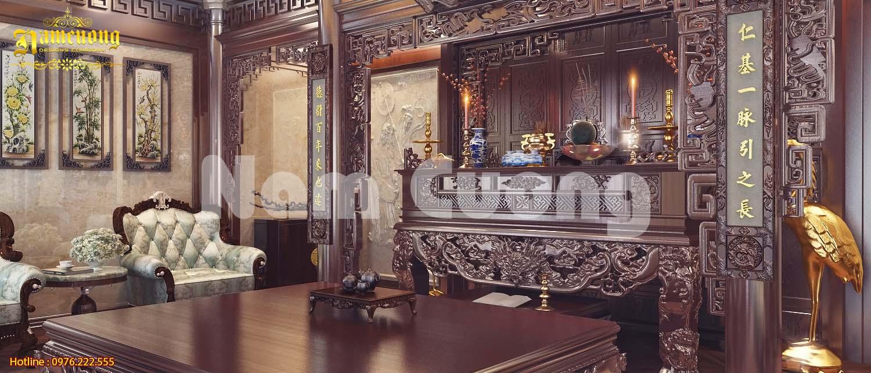 Mẫu thiết kế phòng thờ biệt thự lâu đài gỗ sang trọng
