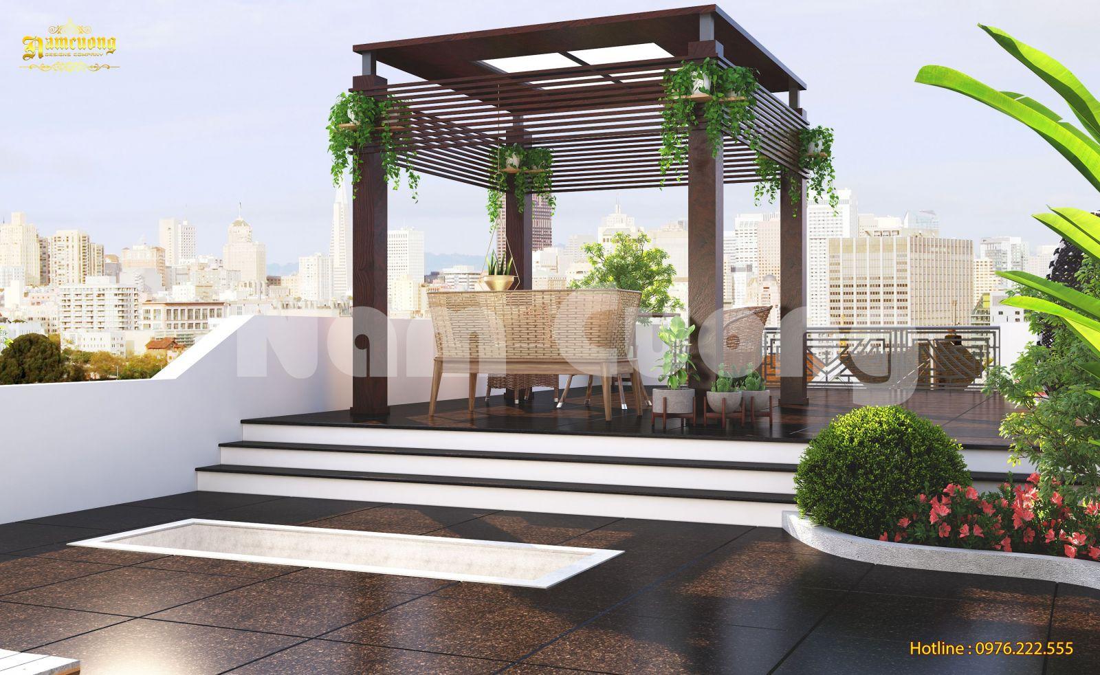 Mẫu thiết kế tiểu cảnh sân vườn trên mái cho biệt thự