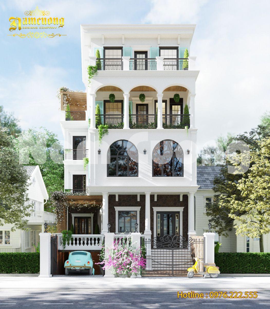 Thiết kế biệt thự nhà phố tân cổ điển 4 tầng