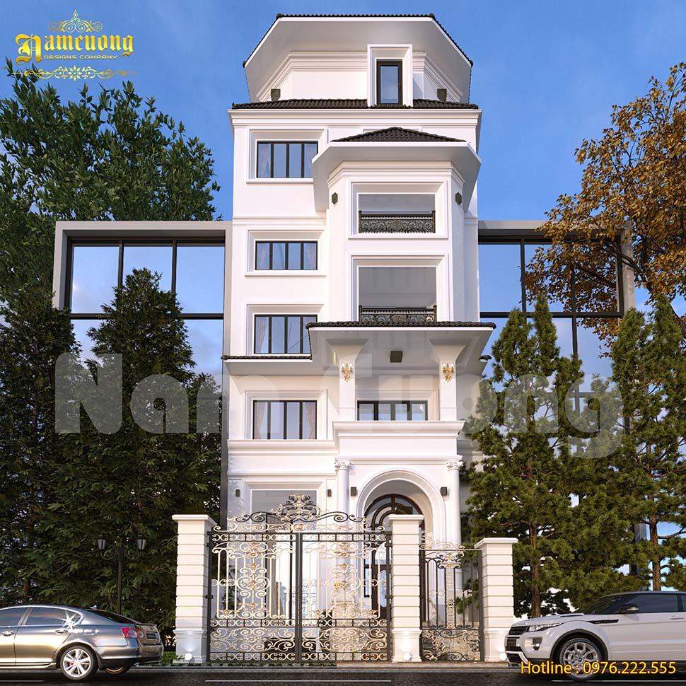 Thiết kế biệt thự phố 5 tầng 1 tum