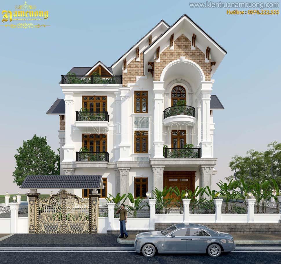 Mẫu thiết kế biệt thự tân cổ điển 3 tầng 150m2 tại Bắc Giang