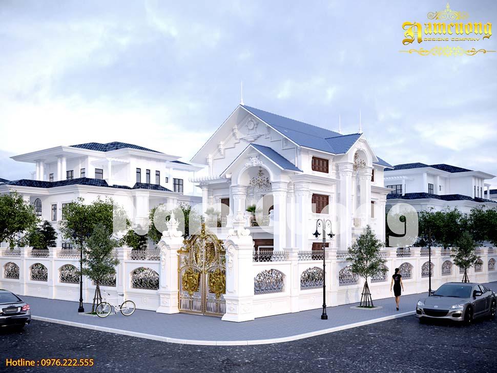 Tráng lệ ngôi biệt thự tân cổ điển 3 tầng mái thái đẹp