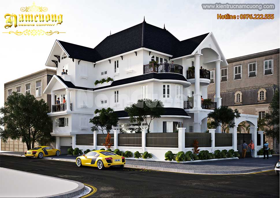 Thiết kế biệt thự tân cổ điển màu trắng 3 tầng