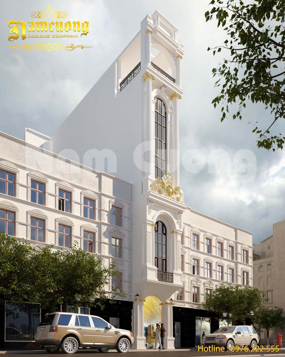 Thiết kế khách sạn mặt tiền hẹp phong cách tân cổ điển