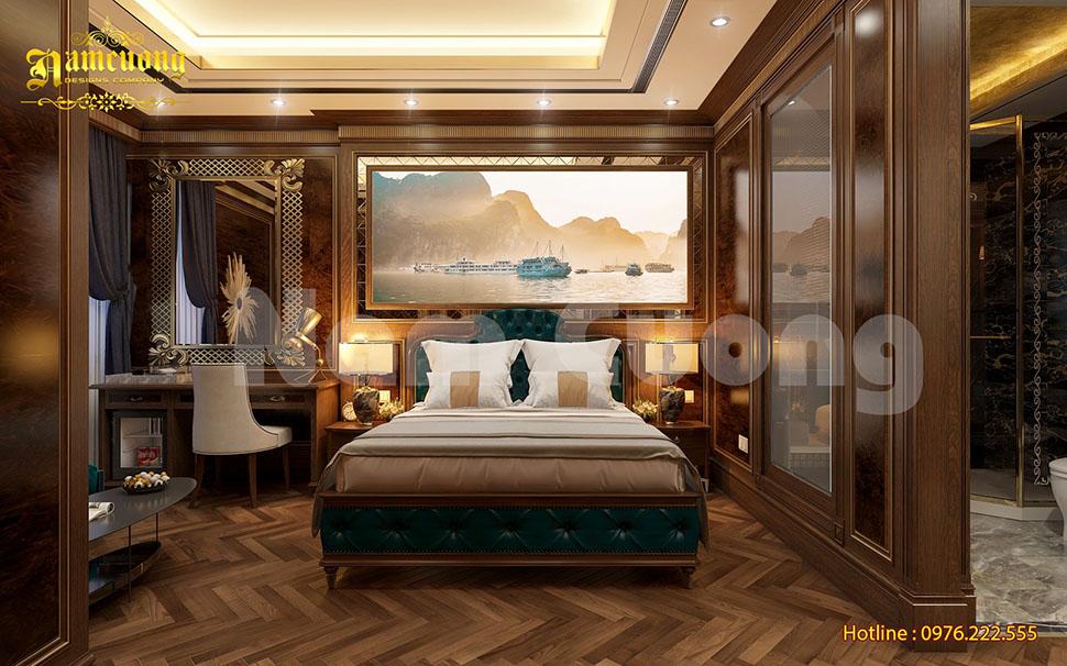 Thiết kế phòng ngủ khách sạn 3 sao gỗ tự nhiên
