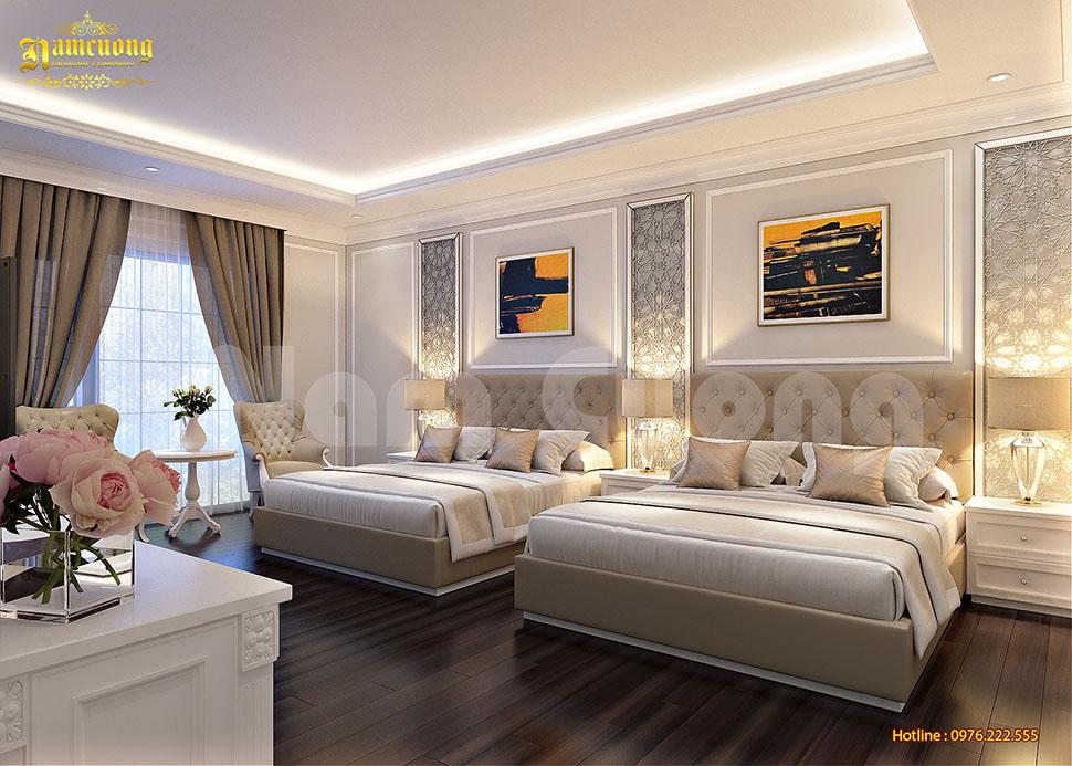 Thiết kế nội thất phòng ngủ khách sạn 3 sao tân cổ điển