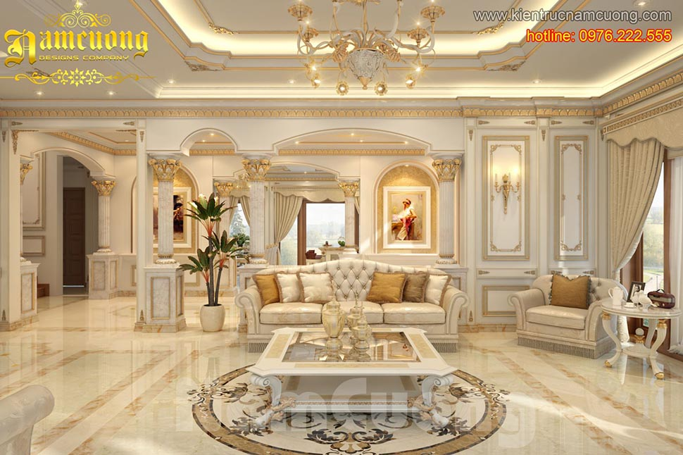 Các mẫu nội thất phòng khách cổ điển đẹp sang trọng