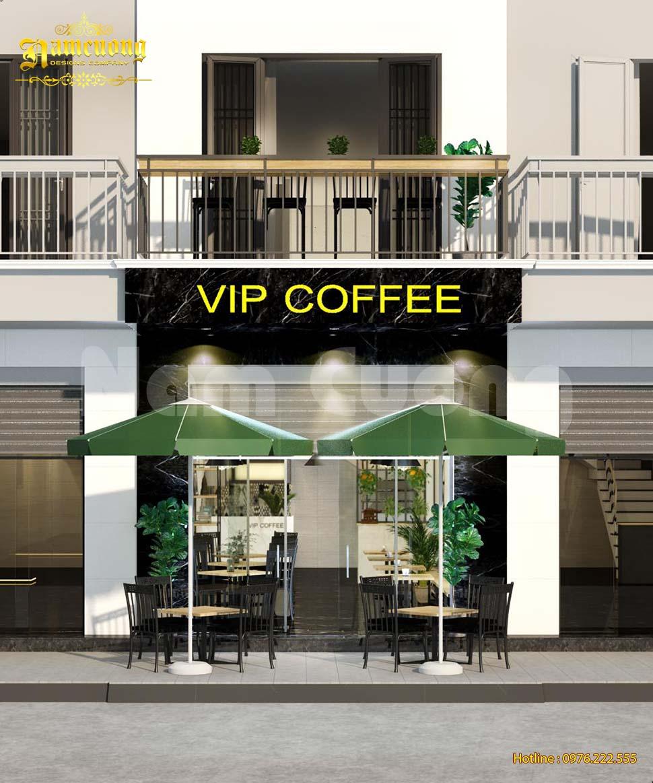 Thiết kế quán cafe 2 tầng mặt tiền 5m