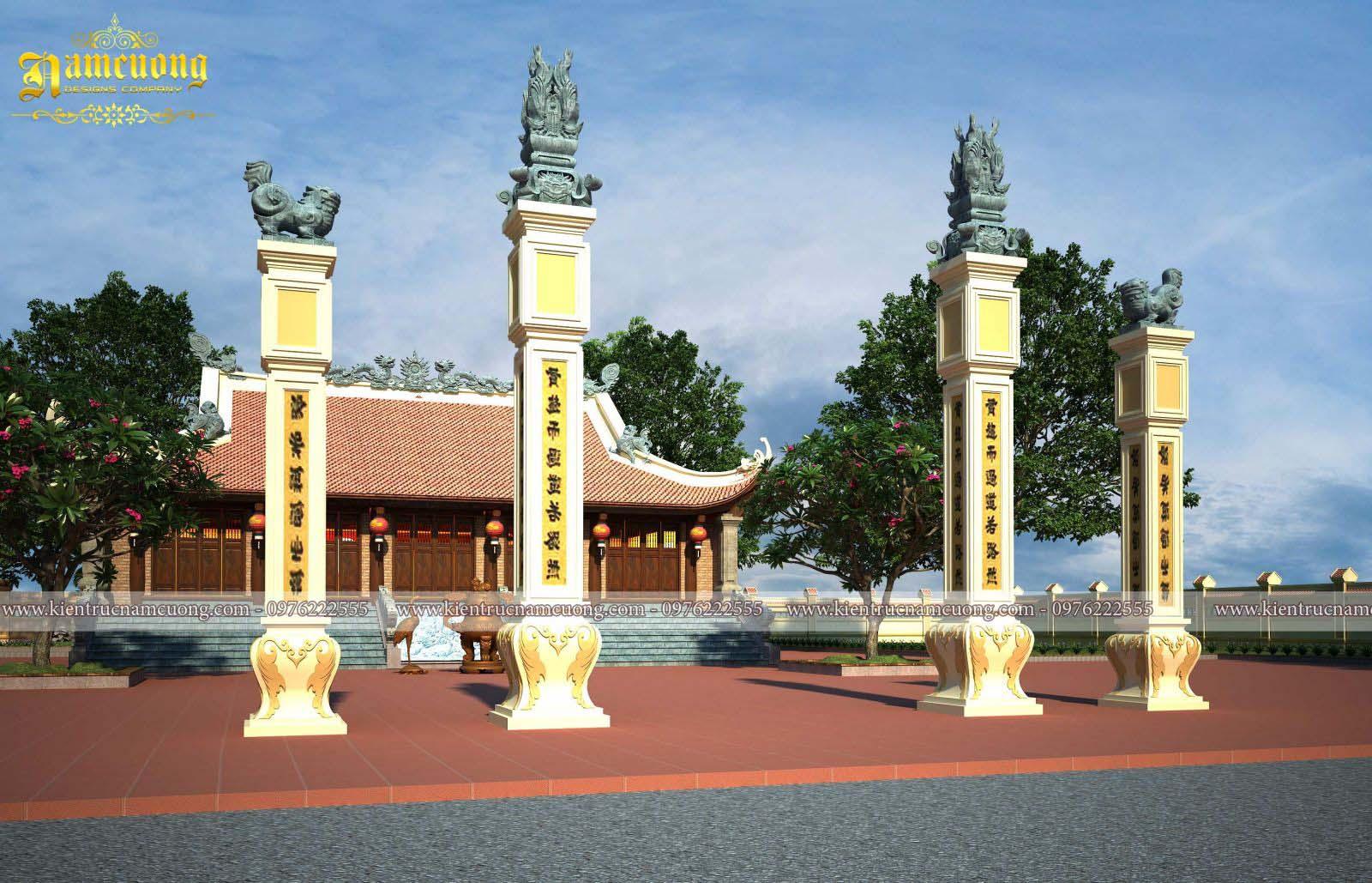 Thiết kế kiến trúc chùa 5 gian chữ Nhất