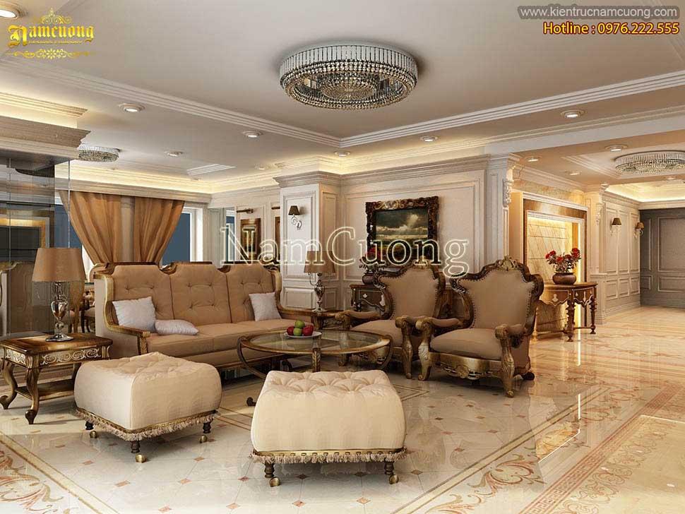 Mẫu thiết kế nội thất chung cư tân cổ điển 3 phòng ngủ