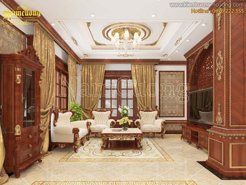 Nội thất gỗ sồi biệt thự 2 tầng tân cổ điển