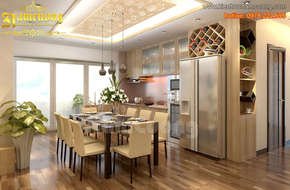 thiết kế phòng ăn tân cổ điển 20m2