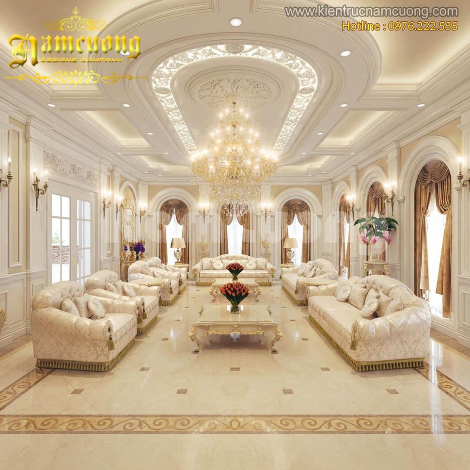 Những mẫu thiết kế nội thất phòng khách kiểu Pháp ấn tượng