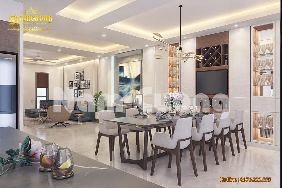 Thiết kế nội thất phòng khách liền bếp cho gia chủ