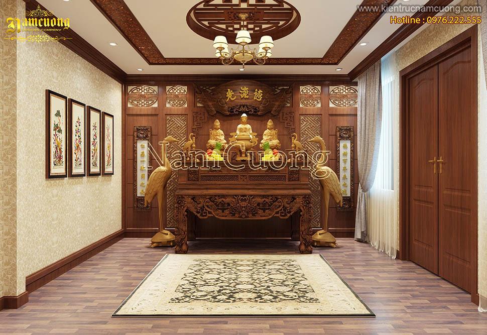 Tổng hợp những mẫu thiết kế nội thất phòng thờ cổ điển đẹp