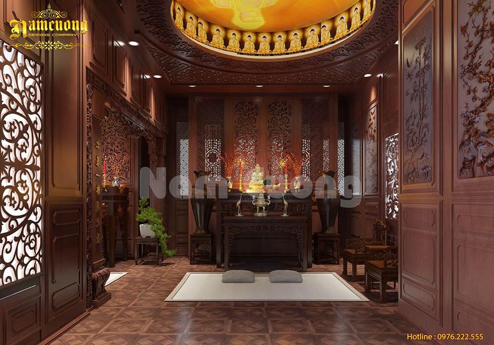 Mẫu thiết kế nội thất phòng thờ 2 gian phong cách Á Đông - NTPTCD 004