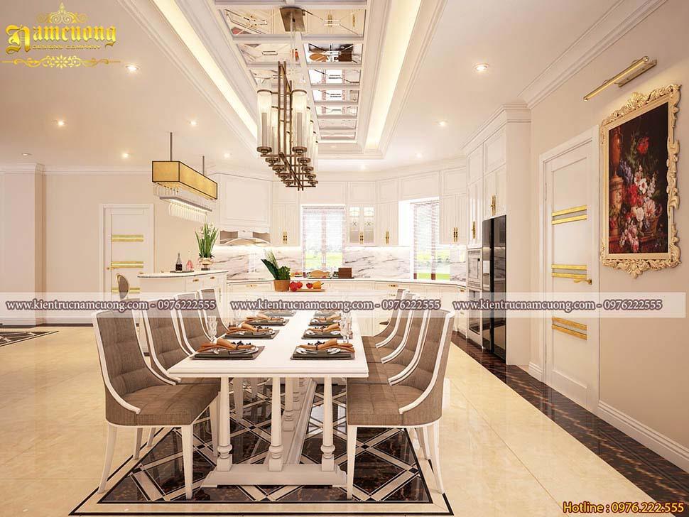 Thiết kế phòng bếp biệt thự tân cổ điển đẹp