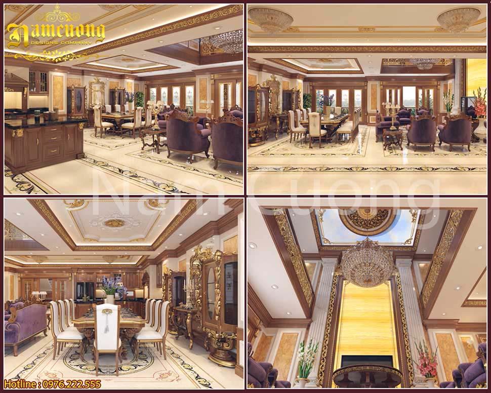 Thiết kế phòng khách bếp thông nhau của biệt thự tân cổ điển