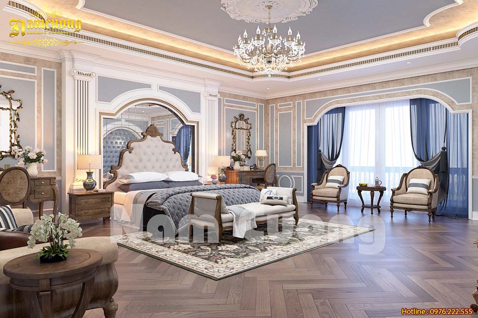 Hoành tráng mẫu thiết kế phòng ngủ biệt thự lâu đài
