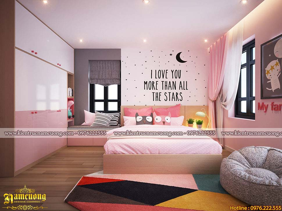 Thiết kế phòng ngủ màu hồng lãng mạn