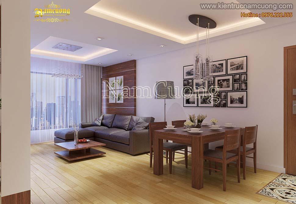 Thiết kế chung cư 60m2 2 phòng ngủ