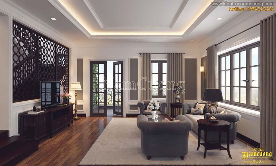 Mẫu thiết kế phòng khách bếp 20m2 đẹp