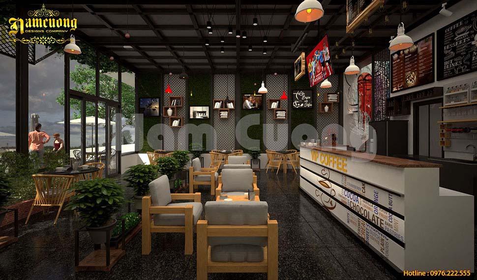 Thiết kế quán cafe góc 2 mặt tiền ấn tượng
