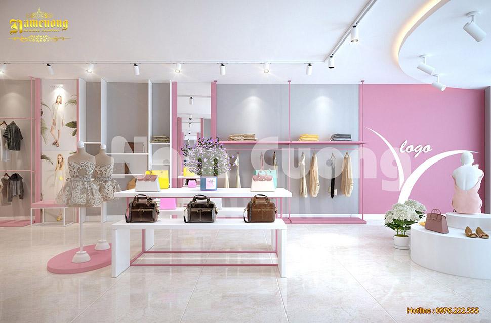 Thiết kế shop quần áo 2 tầng hiện đại ấn tượng