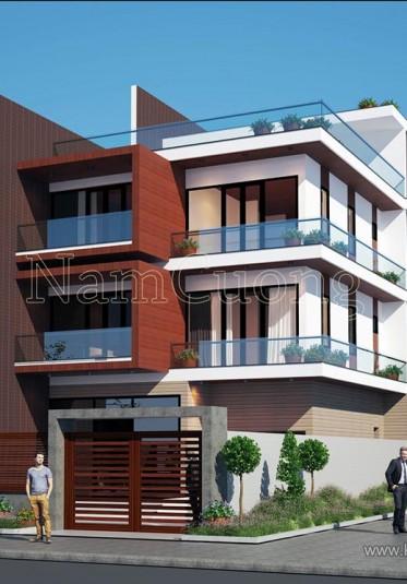 Mẫu thiết kế biệt thự hiện đại 4 tầng 2 mặt tiền đẹp tại Hà Nội