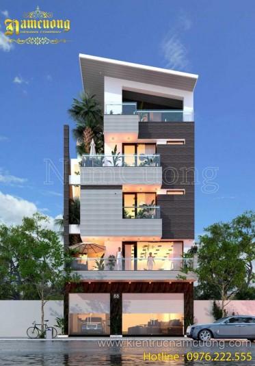 Công trình biệt thự hiện đại đẹp 5 tầng của chị Hương - BTHD 012
