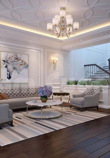 Mẫu thiết kế nội thất khách bếp cho nhà ống hiện đại 4 tầng