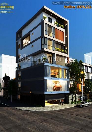 Mẫu thiết kế nhà phố hiện đại kết hợp ở và kinh doanh độc đáo tại Hà Nam - NPHD 0111