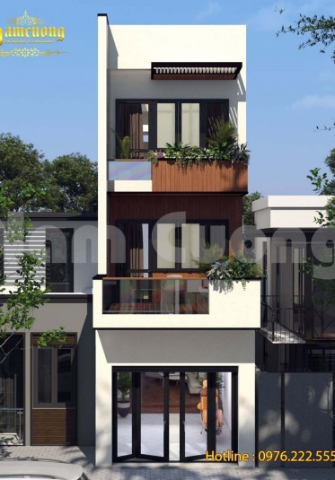 Thiết kế kiến trúc độc đáo của ngôi nhà phố hiện đại 3 tầng