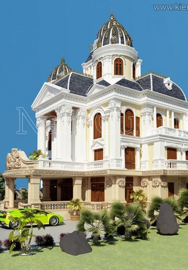 Thiết kế biệt thự lâu đài Pháp 3,5 tầng ấn tượng tại Sài Gòn - BTLD 002