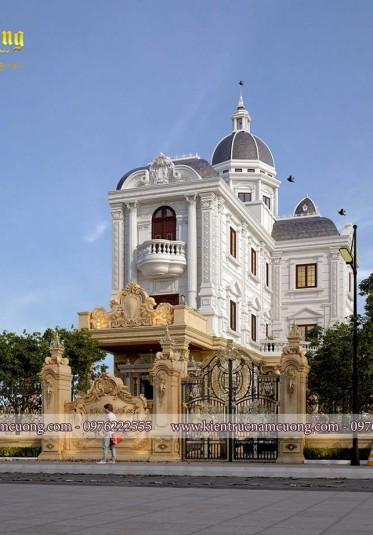 Mãn nhãn với mẫu thiết kế biệt thự kiểu Pháp cổ điển nguy nga